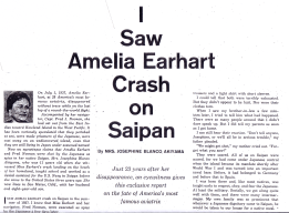 "This story appeared in the San Mateo Times ""Family Weekly"" news magazine on July 3, 1960. The sensational account revealed details of her life as an 11-year-old on 1937 Saipan, but the true picture of what she actually saw that day remains in question. Was it a seaplane or a landplane in trouble that landed at Tanapag Harbor?"